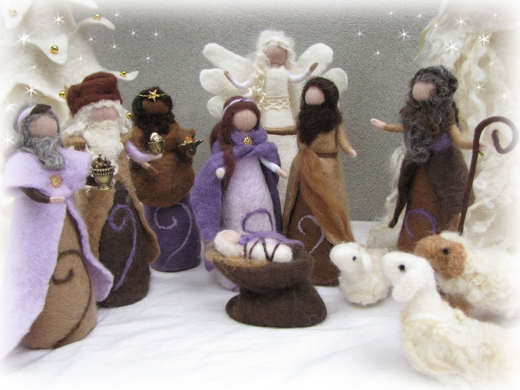 Needle felted and wet felted Nativity Set C felted, Three wise man