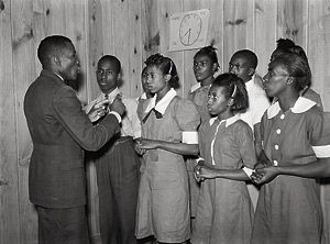 School Choir, Gee's Bend Alabama led by Robert Pierce, school principal. They won state championship.  Gee's Bend, Alabama - May 1939