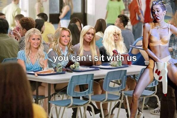 Celebrity controversy creates comedy, and is perpetuated by it. Created in response to Miley Cyrus' VMA performance, this meme illustrates the idea that after controversy, mockery ensues. Four celebrity veterans of controversy are pictured here at the Mean Girls' lunch table ironically (& comically) denying Miley entrance into their world. Guess they are offended by her behavior, eh?  Notice how the digital age allows creators to blend generational films & media tools in response to…
