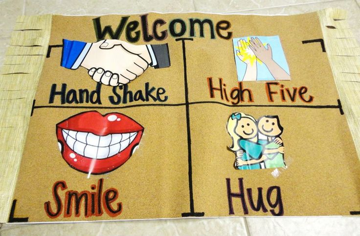 Mat sits in front of the classroom door. Students step on which type of greeting they would like to receive for that day. (Created by a friend Lisa Tran)