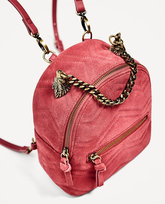 Image 3 of LEATHER BACKPACK WITH WOLVES DETAIL from Zara