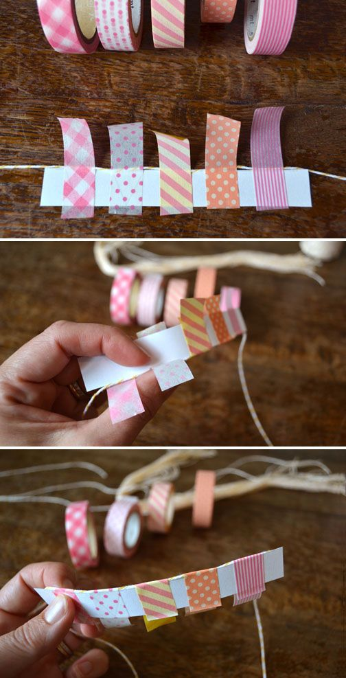 Mini bunting made of washi tape - ideal for a card