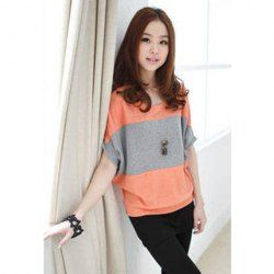 Casual Splicing Blocking Color Broad Stripe Batwing T-Shirt For Women