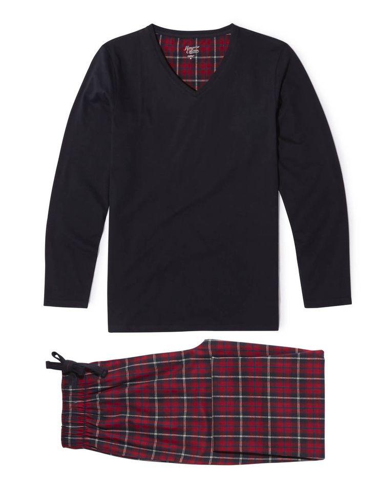 Pyjama pilou carreaux Noël - CIPILOUSSS_ROUGE - Image à plat - Celio France