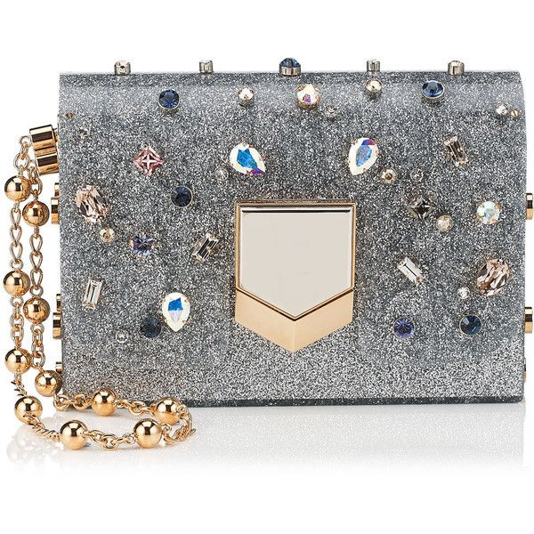 Silver Glitter Acrylic Clutch Bag with Multi Coloured Crystals found on Polyvore featuring bags, handbags, clutches, borse, silver glitter purse, jimmy choo, silver glitter handbag, silver handbags and glitter handbag