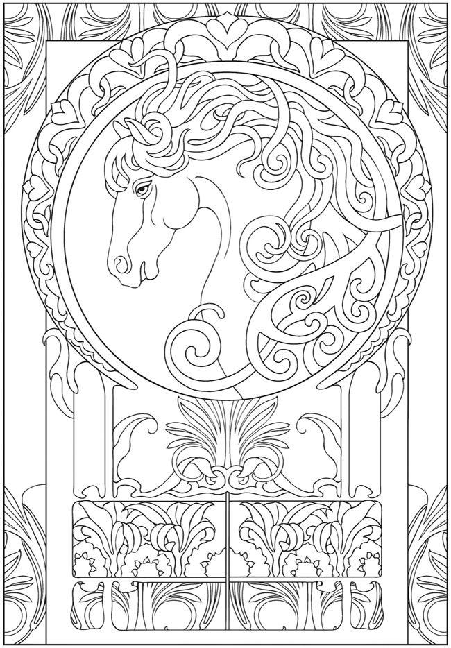 Art Nouveau Animal Design Dover Publishing Coloring Pages