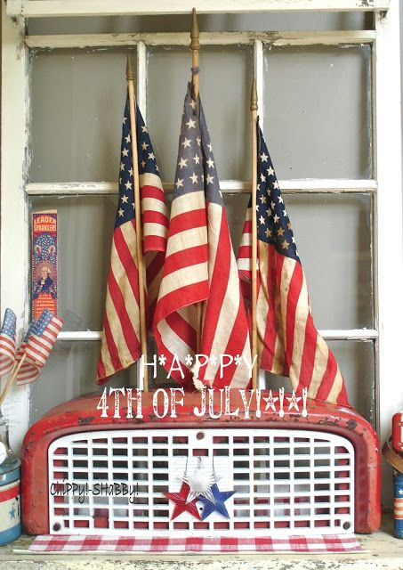 Tattered Flags... RED Rusty Tractor Grill... ViNtaGe Red... White... Blue... S*T*A*R*S!*!*!