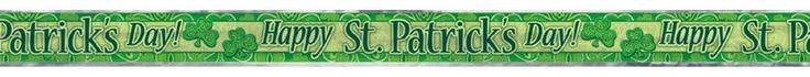 "St Patrick's Day Party Supplies ""Happy St Patrick's Day"" Foil Banner 3.65m Long"