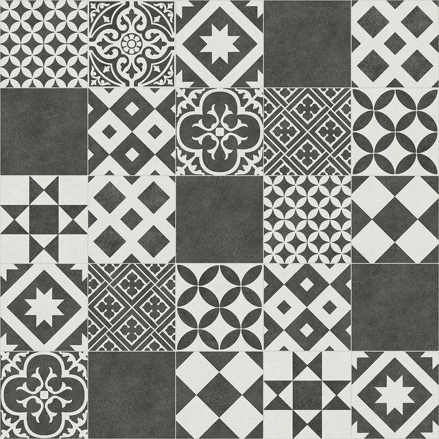 Sol Pvc Noir Et Blanc Livingstone Gatsby Noir Artens Textile L 4 M Carreau De Ciment Tapis Vinyl Revetement De Sol En Vinyle
