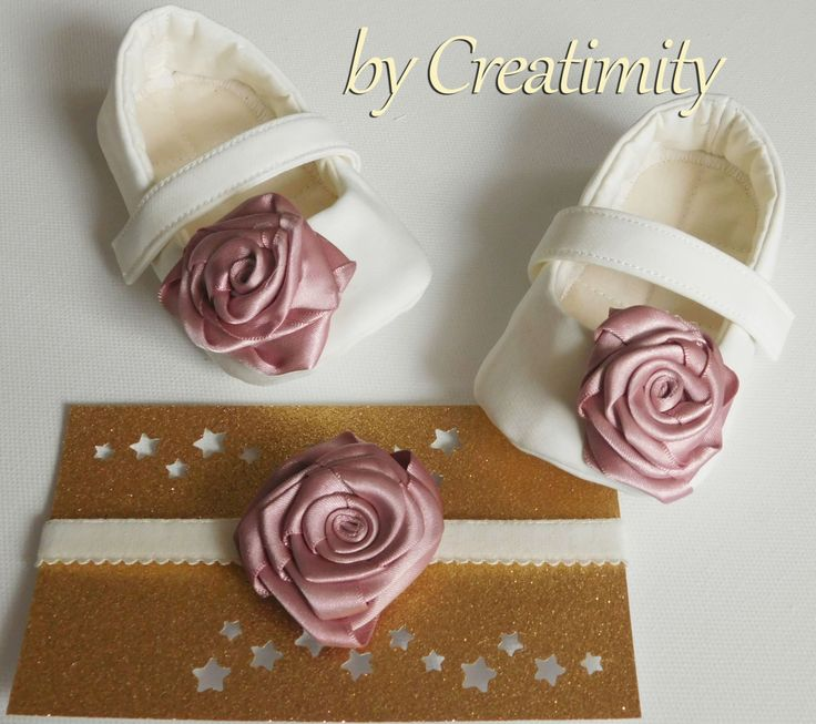 Ivory christening baby shoes,dusty rose,baby baptism,wedding shoes,ballerina shoes,soft sole shoes,crib shoes,baby headband by CreatimityElegance on Etsy