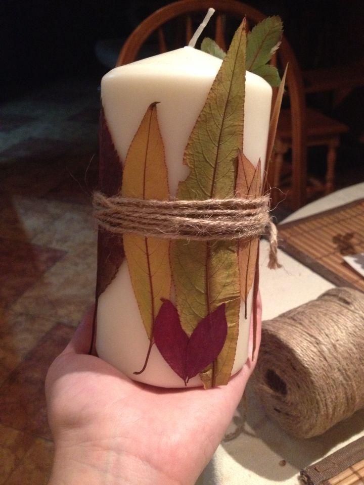 Свеча в стиле рустик,украшена сушеными листьями