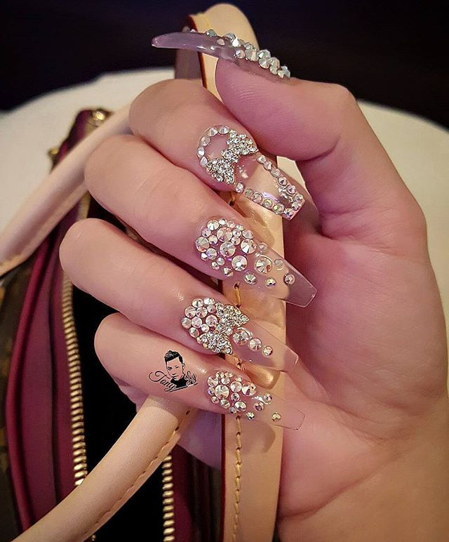 Clear glass nails with Swarovski crystal nail art
