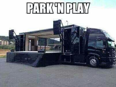 Park 'n Play mobile stage vehicle
