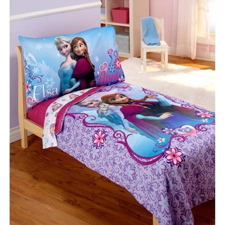 Disney Frozen Elsa & Anna 4-Piece Toddler Bedding Set - Walmart.com