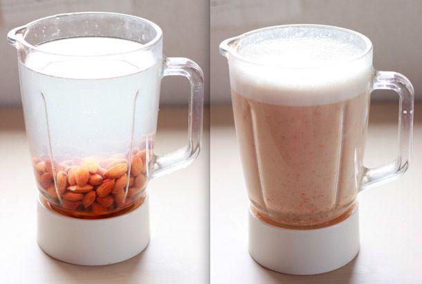 アーモンドミルクとは、アーモンドからとれるミルクのこと。コーヒーやシリアル、スープ作りなど幅広く活用できます。 アーモンドミルクは健康的と言われていますが、具体的にどんな特徴があるのでしょう。 栄養素ラベルで低脂肪牛乳とアーモンドミルクを比べると、牛乳は糖分、カロリー、炭水化物、緩和脂肪酸の量がアーモンドミルクを高く上回っています。そして、コレステロールがゼロのアーモンドミルクに比べ、牛乳は50mgと高い数値が出ています。結果は明らかにアーモンドミルクのほうがヘルシー。 唯一牛乳がアーモンドミルクより健康的といえるのは、たんぱく質が摂れること。不足したたんぱく質は穀類で補うのがオススメです。(参照:Total Mommy Fitness) 欧米では広く普及し、どこにでも売っているアーモンドミルク。日本では手に入れにくく、輸入専門のスーパーで見かけたら、なんと1パック700円くらいで驚きました。 そこで私なりに研究し、アーモンドミルクを自宅で作ってみることにしました。 [材料] ・素焼きアーモンド(1カップ)※一晩水につける ・水(3.5カップ)…