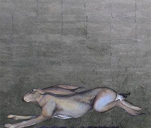 Image d'un lièvre, d'une aquarelle et d'une feuille d'or, par Jackie Morris