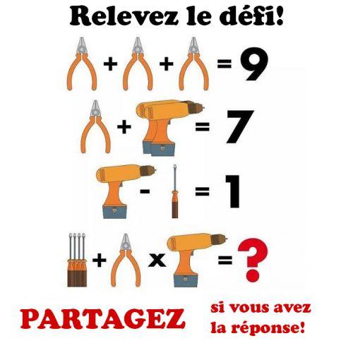Relevez le défi 3 pinces égal 9, donc une pince égal 3 1 pince plus 2 perceuses égal ...., donc deux perceuses égal ...., donc une perceuse égal ... 1 perceuse moins un tournevis égal ...., donc un tournevis égal .... 3 tournevis + 1 pince x 1 perceuse ...(...) + 3 x .... = (priorité opératoi
