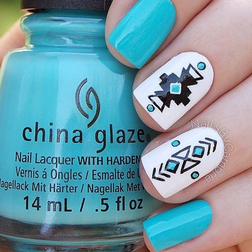 With red instead - Image via We Heart It #art #aztec #black #blue #cute #facebook #fashion #heart #love #nail #nailart #nailpolish #nails #polish #summer #tumblr #white #chinaglaze #instagram