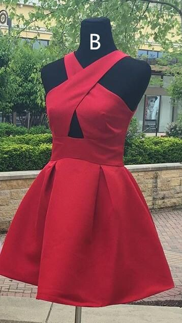 2017 short red homecoming dress, cheap homecoming dress, formal evening dress, party dress