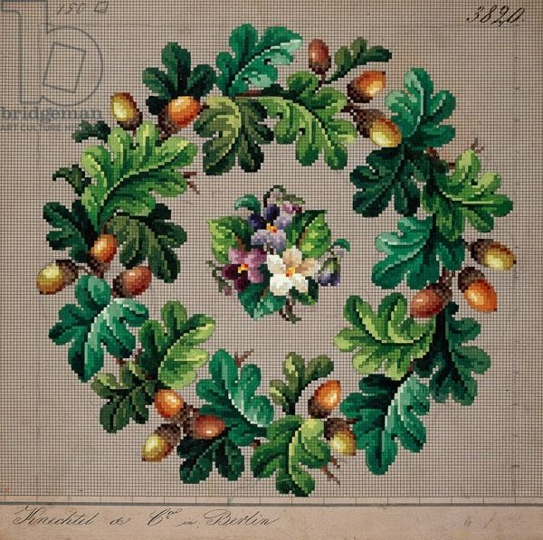 Crown of oak leaves, acorns and bunch of violets embroidery design, 19th century