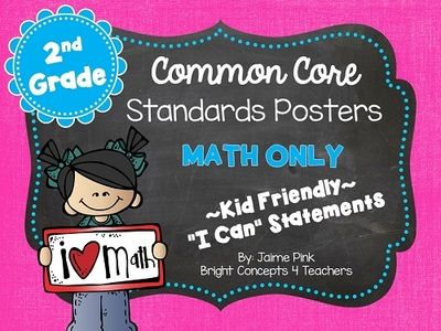 """2nd Grade Common Core """"I Can"""" Standards Posters {MATH ONLY} from Bright Concepts 4 Teachers on TeachersNotebook.com -  (42 pages)  - These 2nd grade MATH Common Core standards posters are written in kid-friendly """"I can"""" statements to help students take ownership of the standards they learn."""