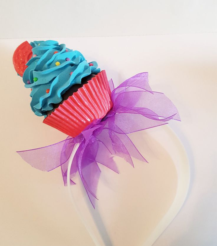 Tutu Fake Cupcake Headband with Cookie, Photo Props, Headband for Candy Land Party, Costumes, Concerts, Tea Parties, Cupcake Shop Decor by FakeCupcakeCreations on Etsy