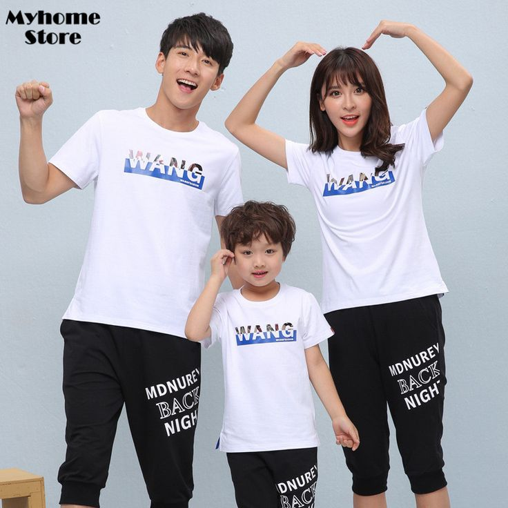 Free Shipping Summer Fashion Boy Shirts Family Matching Outfits t-shirt mom and daughter Korea Cotton Shirt Short Sleevve Tops