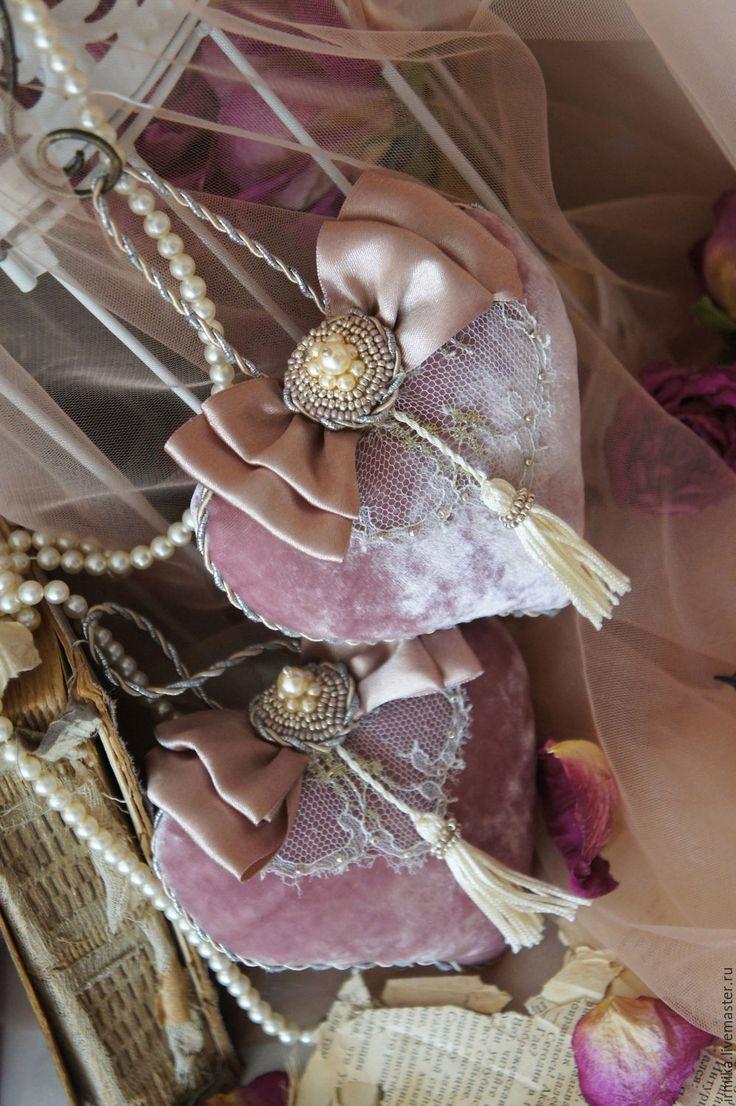 Купить Интерьерные подвески Сердца. Винтаж. Розовый. - розовый, пыльный розовый, розовый пыльный, винтаж