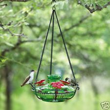 Parasol GREEN - Glass Hummingbird Feeder - BLOOM PERCH 3-Station with Perches