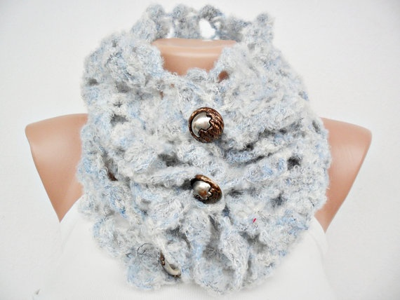 Light blue Crocheted Cowl  Free Shipping by noyumberry on Etsy, $24.00