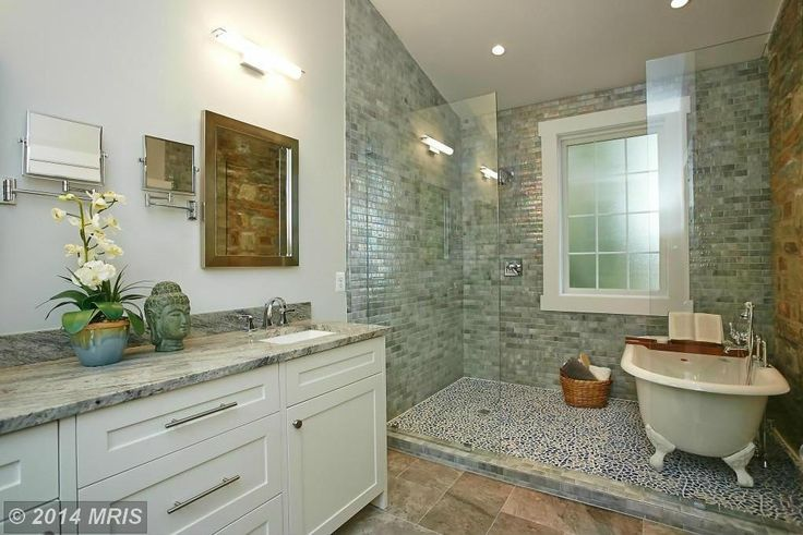 Transitional Full Bathroom with Complex granite counters, Flat panel cabinets, Stained glass window, Clawfoot, Rain shower