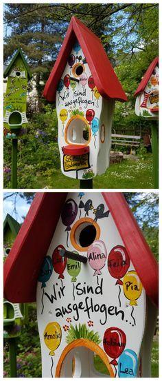 Buntes Vogelhaus, handbemalt, als Abschiedsgeschenk für Erzieherinnen, individualisierbares Geschenk / customizable gift idea: wooden bird house with names made by die Vogelvilla via DaWanda.com