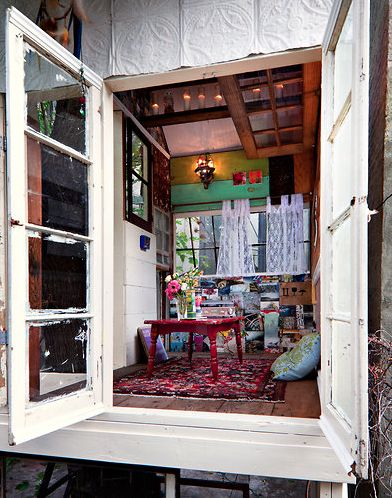 love this space.: Yellow Wall, French Window, Wall Color, Tree Houses, Treehouse, Trees House, Old Window, New York Time, Playhouse