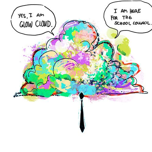 jenndrawsthings: glow cloud with tie. Eeeheee! idea courtesy a-night-in-nanupp.