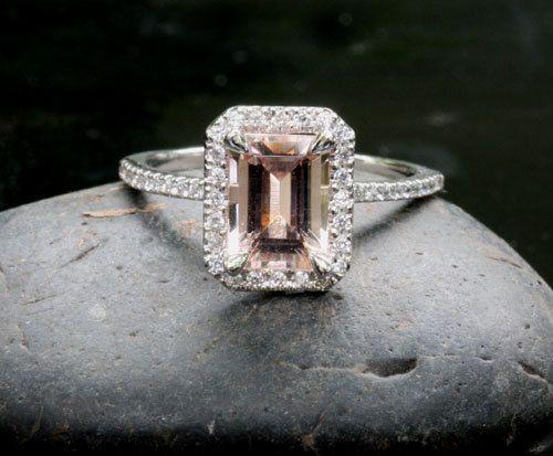 Morganite Engagement Ring Wedding Ring Set in 14k White Gold with Morganite  Emerald Cut 8x6mm and Diamond Bridal Ring set