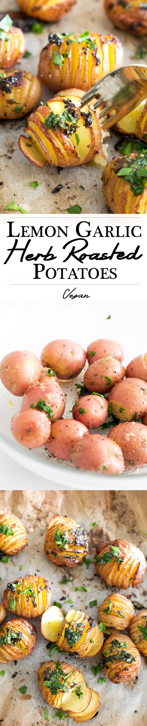 Lemon Garlic Herb Roated Potatoes - Delicious, Simple, Healthy and Packed With Flavor. #Vegan #Recipes #Simple #Healthy