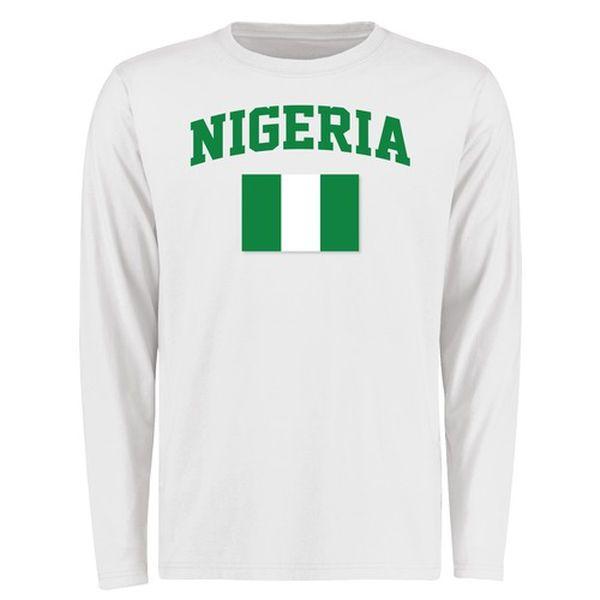 Nigeria Flag Long Sleeve T-Shirt - White - $27.99