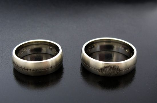 #Rings by #Bielak  #Poland  certified white gold satin pattern  with voice oscillogram #wedding #jewelry