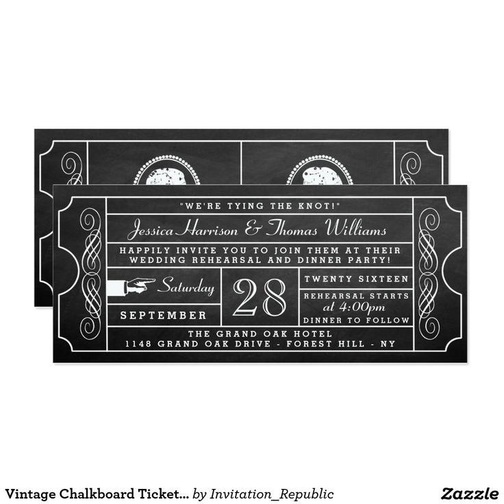 Vintage Chalkboard Ticket Wedding Rehearsal Dinner Card