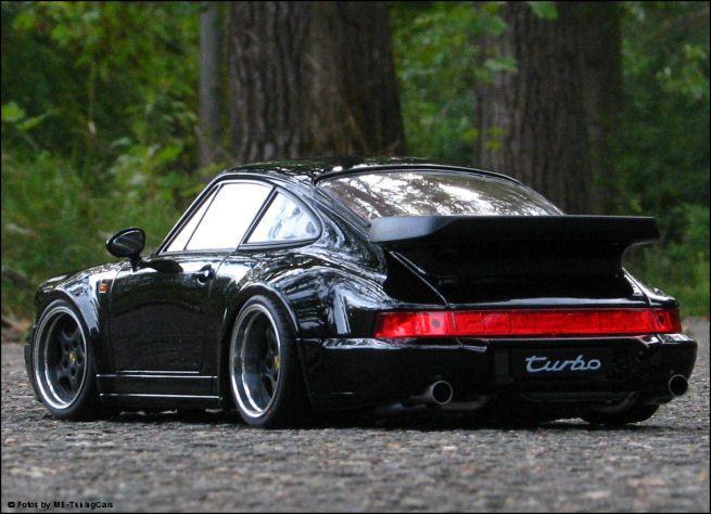 118 Tuning Porsche 911 (964) Turbo [schwarz / Black] mit Echt-Alu-PVC-Felgen in Modellbau, Modellautos, Welly