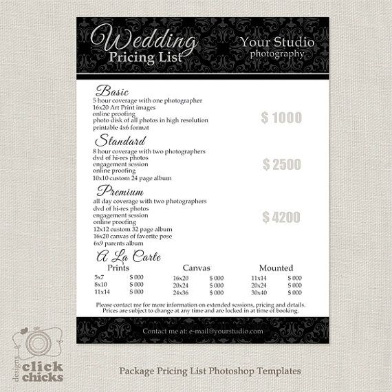 25 Best Ideas about Wedding Photography Pricing – Sample Price List Template