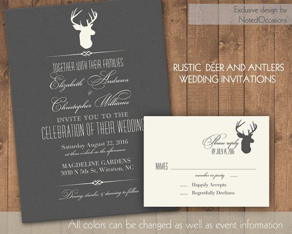 Rustic Wedding Invitations Rustic Deer And Antlers | DIY Custom Country  Inspired Wedding Invitations | Digital. Trachten HochzeitMama Geburtstag Einladungen ...