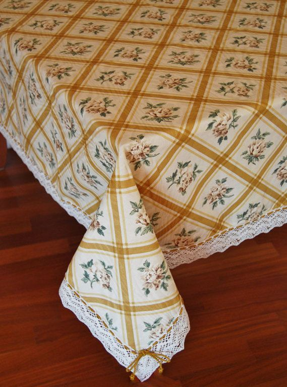 GOLD SQUARED TABLE CLOTH - PatriziaB.com  Charming gold coloured squared table cloth made with a mixed cotton fabric embellished by a fine bobbin lace edging and a silk cordon drawn