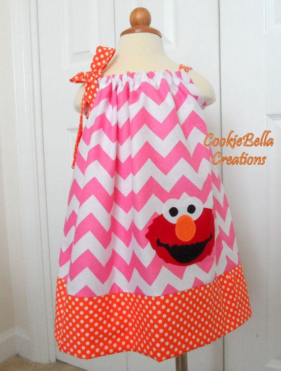 Chevron de Elmo rosa y vestido naranja por CookieBellaCreations