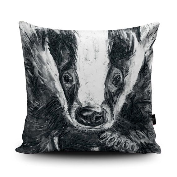 Badger Cushion, Badger Pillow, Wildlife Cushion, Black White Badger Illustration, Badger Home Decor, 18x18 inch, 45cm Faux Suede Cushion