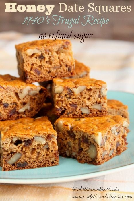 Need a frugal real food snack or breakfast? This 1940's Honey Date Squares Recipe is from her great-grandmother's recipe book. Love the variations and no processed sugar! Grab this now for an easy and frugal snack or breakfast.