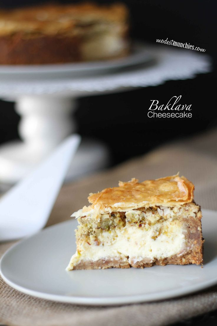 A recipe for an irresistible Baklava cheesecake. Crunchy, nutty, biscuit base, filled with creamy cheesecake, topped with ground nuts and finished with flaky pastry.