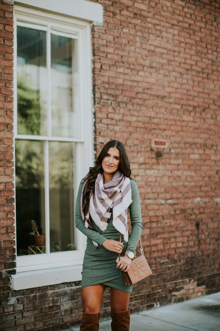 A Southern Drawl. Light green ruched Long Sleeve Dress+brown over the knee suede boots+came shoulder bag+white and blush striped scarf. Fall Outfit 2016