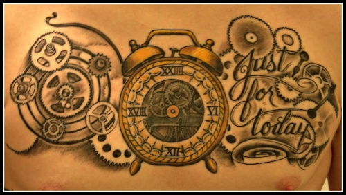 """This is my 24 hour clock with cogs,gears, and """"Just For Today"""". This piece was done by Don Yarian at Eagle River Tattoo in Eagle River Alaska, Don and his Wife Debra run a great shop and have done almost all of my work. The piece took around 7.5 hours, not the most comfortable time i've ever spent in a chair but it was well worth it. I got this tattoo for my 2 years clean and sober, this tattoo reminds me that no matter how long I have clean I still need to take my recovery a day at a time"""