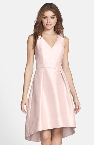 Alfred Sung Satin High/Low Fit & Flare Dress (Online Only) available at #Nordstrom